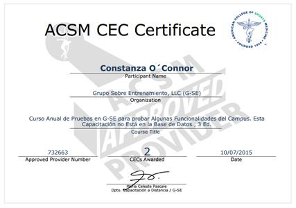 ACSM CEC Certificate
