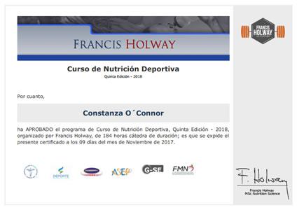 Certificado de Aprobación Nutrición Deportiva