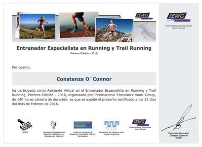 Certificado de Asistencia de Valoración de la Performance en el Running