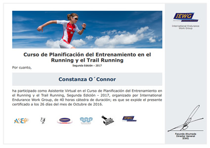 Certificado Final de Asistencia en Entrenamiento en el Running y el Trail Running
