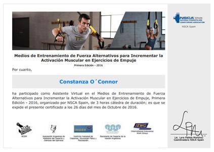 Certificado Final de Asistencia de Entrenamiento de Fuerza Alternativos