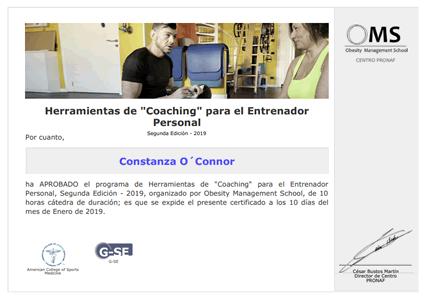"""Certificado Final de Asistencia de Herramientas de """"Coaching"""" para el Entrenador Personal"""