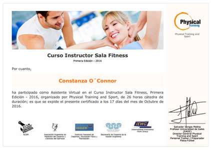 Certificado Final de Aprobación de Instructor Sala Fitness
