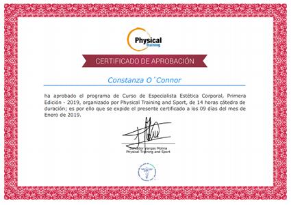 Certificado Final de Aprobación del Curso de Especialista Estética Corporal