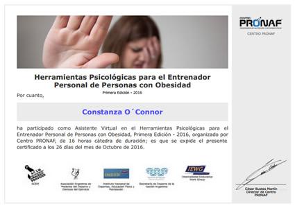 Certificado Final de Asistencia de Entrenador Personal de Personas con Obesidad