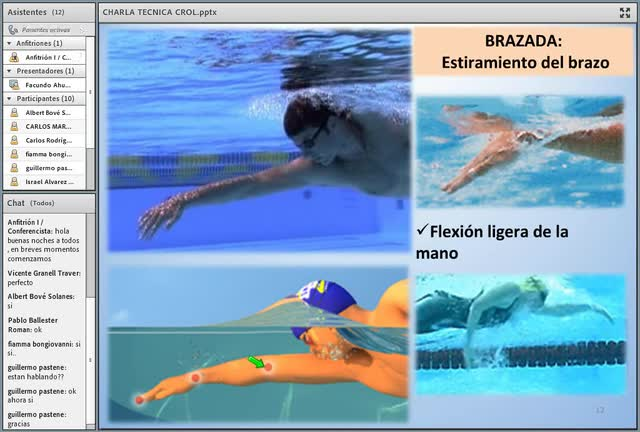 Fragmento de la charla estudio de la técnica de crol en piscinas y aguas abiertas