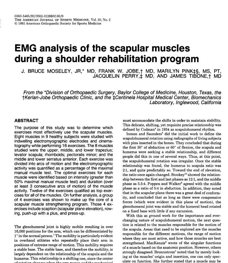 Análisis electromiográfico de los músculos escapulares durante un programa de rehabilitación del hombro