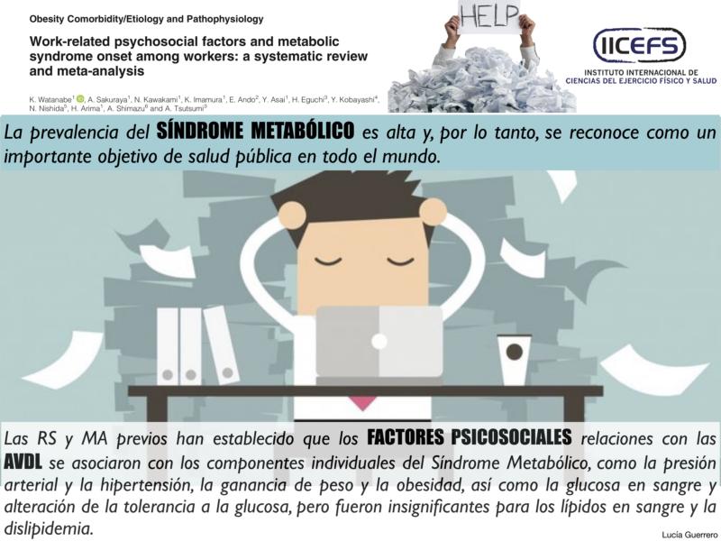Asociación entre los Factores Psicosociales relacionados con las AVDL y el inicio del Síndrome Metabólico.
