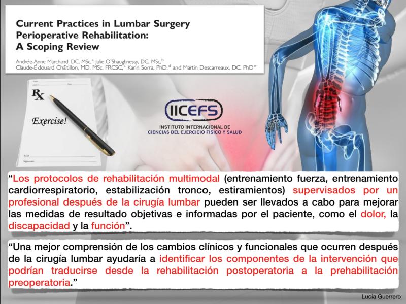 Prácticas actuales y  medidas de resultado informadas con respecto a los protocolos de rehabilitación de la columna lumbar en entornos de procedimientos perioperatorios