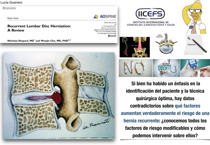 Factores de riesgo de la hernia de disco lumbar recurrente mediante una revisión sistemática de la evidencia disponible