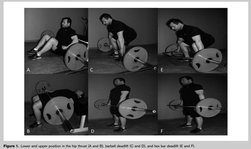 Comparación electromiográfica del peso muerto con barra, peso muerto con barra Hex, y empujón de cadera con barra