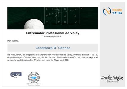 Certificado de Entrenador Profesional de Voley