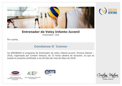 Certificado de Entrenador de Voley Infanto-Juvenil