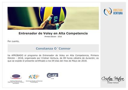 Certificado de Entrenador de Voley en Alta Competencia