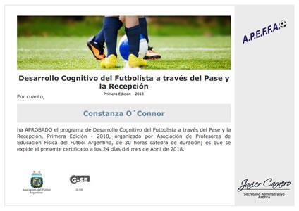 Certificado de Desarrollo Cognitivo del Futbolista