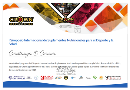 I International Symposium of Nutritional Supplements for Sport & Health
