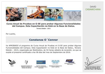 Certificado Final de Asistencia de Curso de Intervención en el Proceso de Entrenamiento de Fútbol