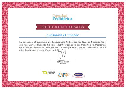 Certificado Final de Asistencia de Deportología Pediátrica