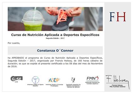 Certificado de Asistencia - Curso de Nutrición Aplicada a Deportes Específicos