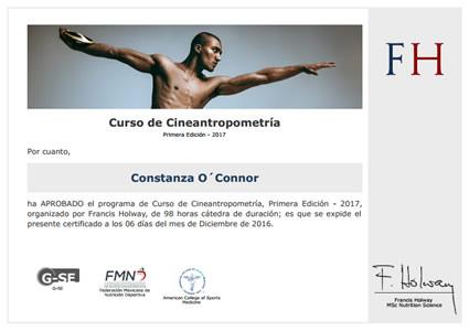 Certificado de Curso de Cineantropometría