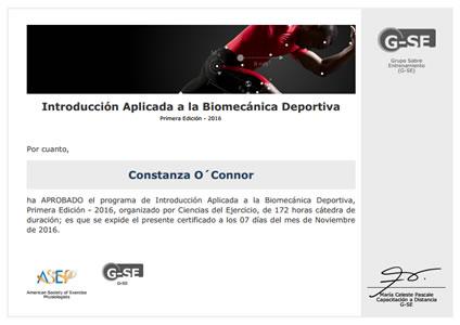 Certificado Final de Aprobación en Introducción Aplicada a la Biomecánica Deportiva