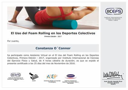 Certificado de Foam Rolling en los Deportes Colectivos
