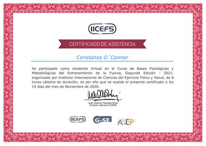 Certificado Final de Asistencia - Programación, Control y Evaluación del Entrenamiento de la Fuerza