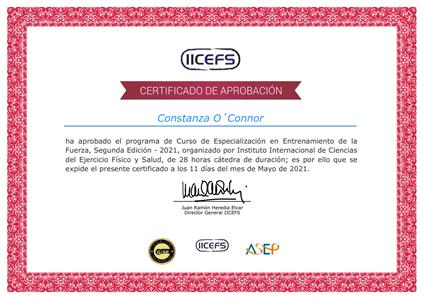 Certificado Final de Aprobación - Especialización en Entrenamiento de la Fuerza