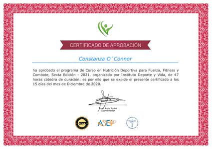 Certificado Final de Aprobación - Nutrición Deportiva para Fuerza, Fitness y Combate