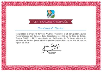 Certificado Final de Aprobación - Casajús