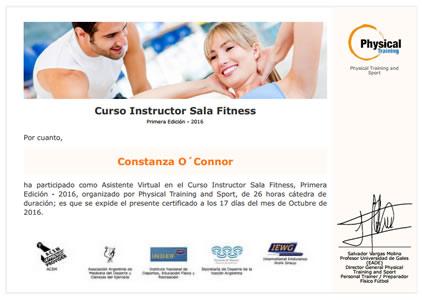 Certificado Final de Aprobación de Instructor Sala Fitness