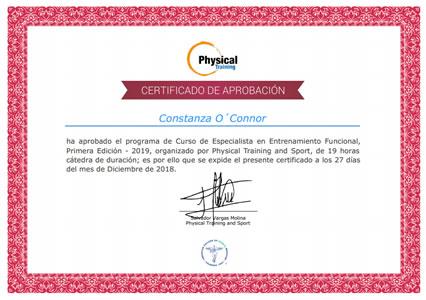 Certificado Final de Aprobación del Curso de Especialista en Entrenamiento Funcional