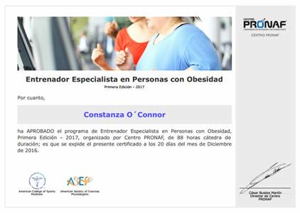 Entrenador Especialista en Personas con Obesidad