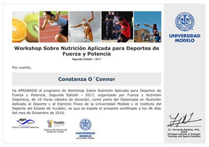 Certificado de Nutrición Aplicada