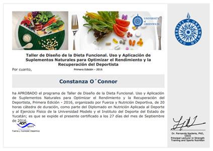 Certificado Final de Asistencia de Taller de Diseño de la Dieta Funcional