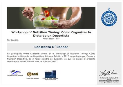 Workshop of Nutrition Timing: Cómo Organizar la Dieta de un Deportista