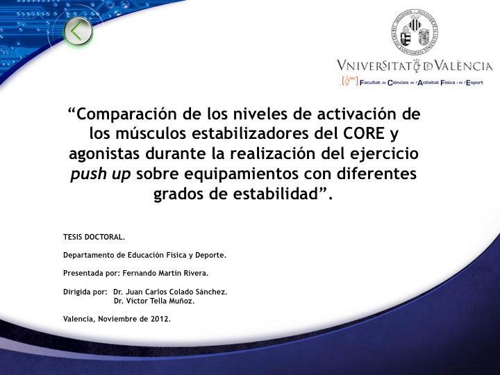 Tesis Doctoral. CORE y dispositivos generadores inestabilidad