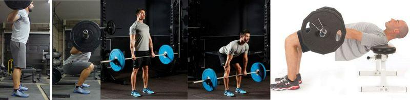Comparación entre la sentadilla, peso muerto rumano, y empujón de cadera para actividades musculares de cadera y piernas