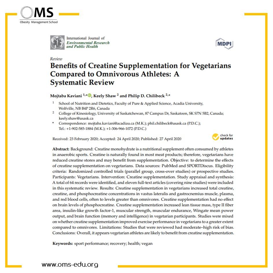 Beneficios de la suplementación con creatina para vegetarianos en comparación con atletas omnívoros: una revisión sistemática
