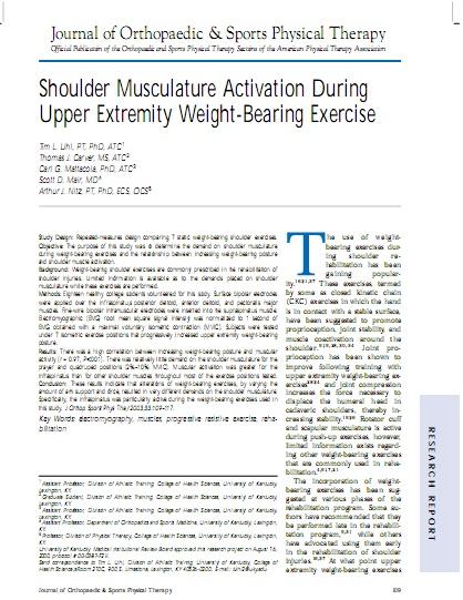 Activación de la musculatura del hombro durante ejercicios de la extremidad superior con el propio peso corporal