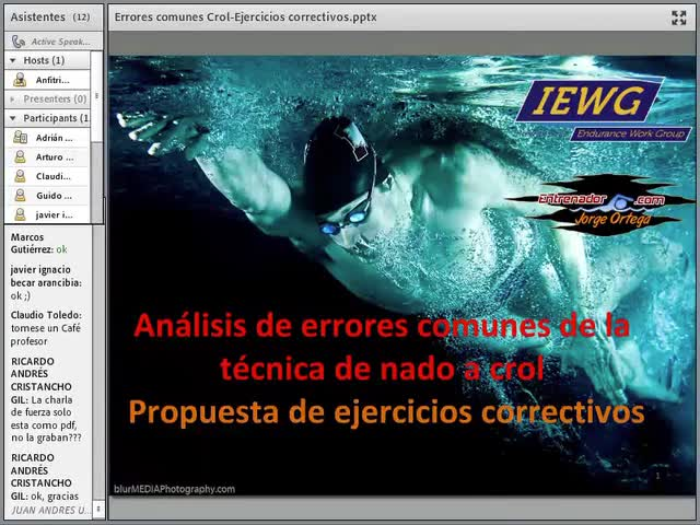 Corrección de errores técnicos en Crol: fragmento de conferencia