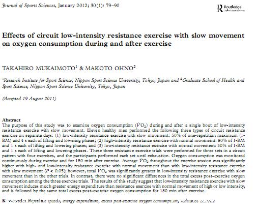 Effects of circuit low-intensity resistance exercise with slow movement on oxygen consumption during and after exercise