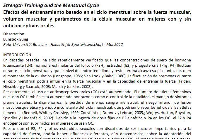 Efectos del entrenamiento de la Fuerza basado en el ciclo menstrual sobre distintos parámetros fisiológicos y de rendimiento
