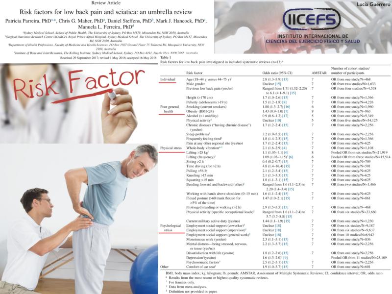 Hacia una mejor comprensión de los posibles Factores de Riesgo asociados al Dolor Lumbar y Ciática