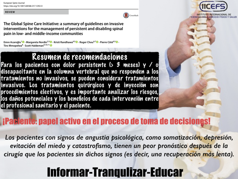 Recomendaciones para Procedimientos Quirúrgicos e Intervencionistas basados en Evidencia en Desórdenes Raquídeos