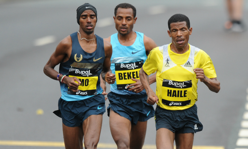 Farah, Bekele y Gebrselassie, Great North Run 2013.